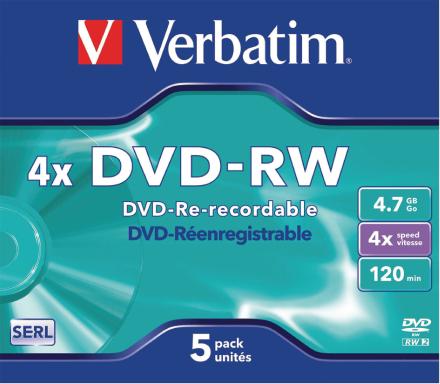 Verbatim 43285 Dvd-rw 4,7 gb 4 x 5 Pack, individuelt hylstre