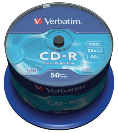 Verbatim 43351 700mb 52 x ekstra beskyttelse Cd-r - 50 Pack spindel