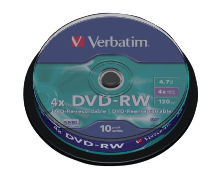 Verbatim 43552 4 x Dvd-rw - spindel 10 Pack