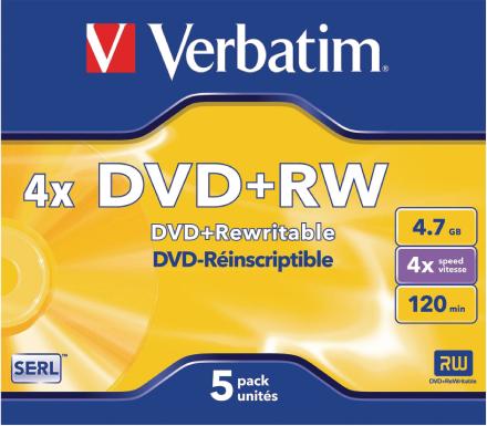 Verbatim 5 x Dvd + rw 4, 7gb 4 x Jewel Case mat sølv overflade