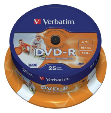 Verbatim 43538 16 x bred printbar Dvd-r - spindel 25 Pack