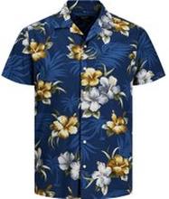 JACK & JONES Blommig Kortärmad Skjorta Man Blå