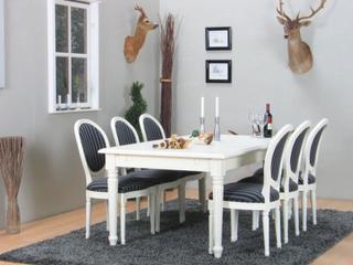 Amaretta spisegruppe 100x180/280 inkl. 2 tillægsplader hvid med 6 Rokoko stole antik hvid/sort.
