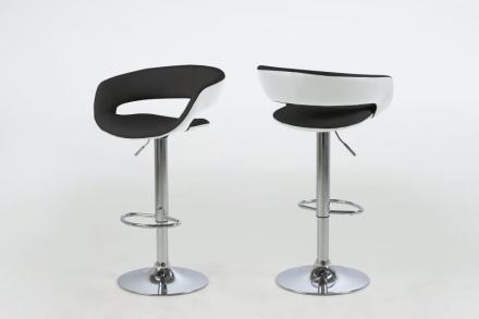 Gramma barstol i svart og hvit PU kunstskinn, med fot i krom, med gasspatron.