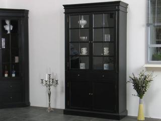 Amaretta 2-dørs vitrineskab bredde 110 cm, højde 200 cm sort antik patineret.