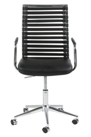 Pelle kontorstol svart PU kunstskinn, gummi og stell i krom.