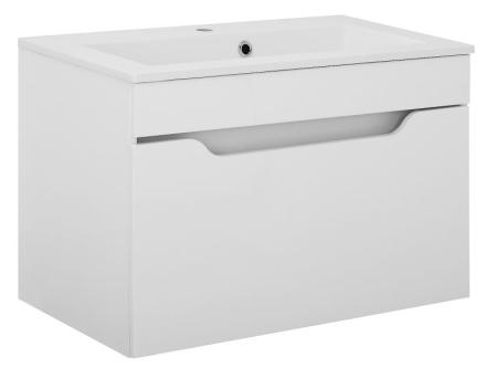 Vaskeskab Lili 80 cm i hvid højglans lak med vask. Leveres færdig samlet.