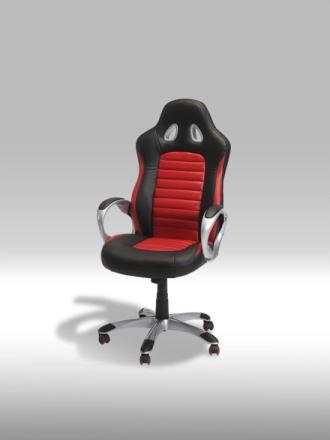 Still kontorstol i svart og rød PU kunstskinn.