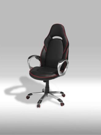 Still kontorstol i svart PU kunstskinn med røde stikninger.