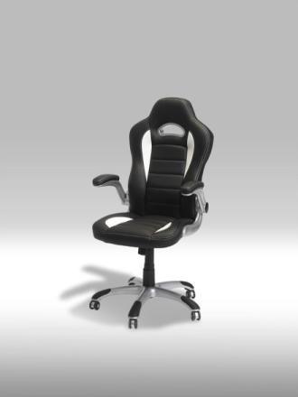 Still kontorstol i hvit og svart PU kunstskinn.