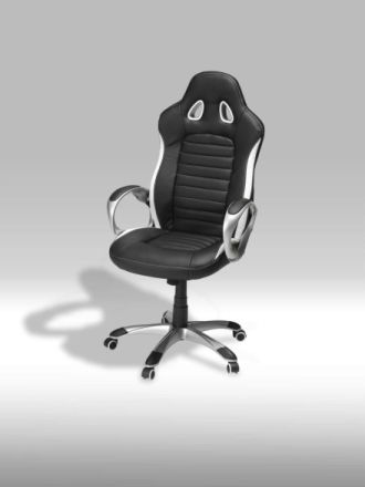 Still kontorstol i svart og hvit PU kunstskinn.