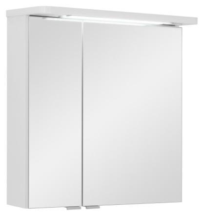Speilskap Grete 60 cm til baderom, hvit høyglans lakk inkl. LED lys. FERDIG MONTERT