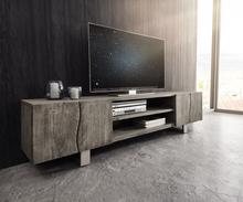 DELIFE TV-meubel Live-Edge 200 cm acacia platinum 4 deuren 2 compartimenten