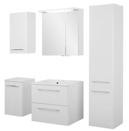 Badeværelse Grete large opstilling hvor vask og spejlskab er 60 cm. Hvid højglans lak. Leveres færdig samlet.