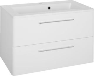 Vaskeskab Grete 80 cm i hvid højglans lak med vask. Leveres færdig samlet.