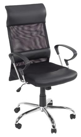 Race kontorstol svart mesh, svart PU kunstskinn og krom stell med tilt funksjon.