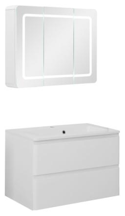 Badeværelse Maja small opstilling hvor vask og spejlskab er 80 cm. Hvid højglans lak. Leveres færdig samlet.