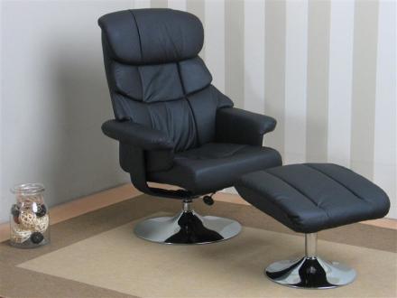 Hally recliner lenestol med posisjonsrygg og med puff i svart PU kunstskinn.