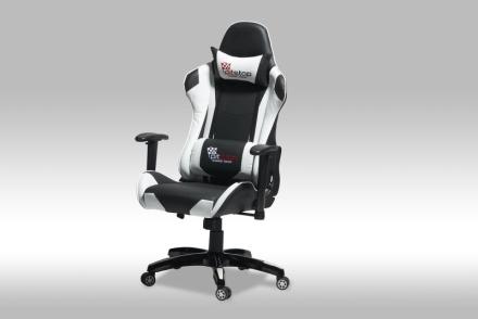 Gamer stol Wild som kontorstol i svart og hvit PU kunstskinn.