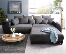 DELIFE Big-Sofa Violetta 310x135 cm zwart met hocker