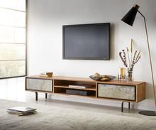 DELIFE TV-meubel Juwelo 200 cm acacia natuur steenfineer open vak metaal zwart