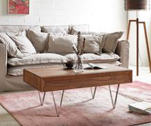 DELIFE Salontafel Wyatt 115x60 cm acacia bruin RVS