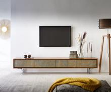 DELIFE Tv-meubel Juwelo 220 cm acacia natuur steen fineer metaal zwart