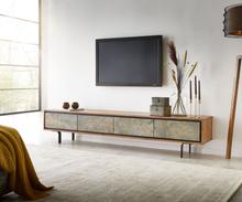 DELIFE TV-meubel Juwelo 200 cm acacia natuur steenfineer metaal zwart