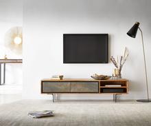DELIFE TV-meubel Juwelo 160 cm acacia natuur steenfineer metaal zwart