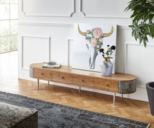 DELIFE Tv-meubel Danja 200 cm acacia natuurhout met steenfineer antraciet