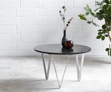 DELIFE Salontafel Luminoso 60x60 cm marmer zwart met metalen frame