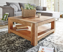 DELIFE Salontafel Indra acacia natuur salontafel 80x80 massief houten legger