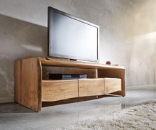 DELIFE TV-meubel Live-Edge 145 cm acacia natuur vak 3 lades