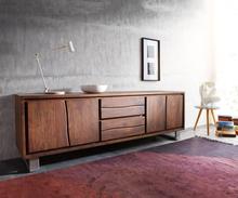 DELIFE TV-meubel Live-Edge acacia bruin 200 cm 4 deuren 2 laden