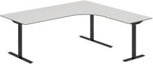 Höj- och sänkbart skrivbord DNA ljusgrå 2000x1800mm höger 3 ben/svart