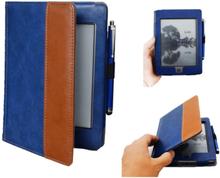 INF Kindle Touch veske med Stylus penn - PU skinn - blå / brun