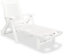 vidaXL Aurinkotuoli jalkatuella muovi valkoinen