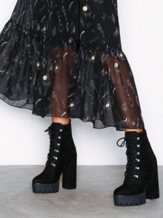 Heel - Svart NLY Shoes Lace Up Platform Boot