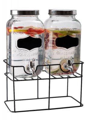 Dubbla glasbehållare med tappkranar
