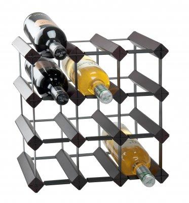 Vinställ i trä & metall för 12 flaskor, svart