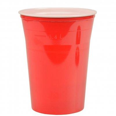 Ölglas i plast 40 cl, rött 70-pack