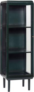 HÜBSCH vitrineskab - mørkegrønt træ og glas, m. 1 glaslåge og 3 hylder (H 160)