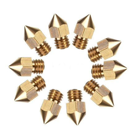 10pcs MK8 Extruder Nozzle For 3D Printer CR-10 5 Different Size 0.2mm 0.4mm 0.6mm 0.8mm 1.0mm