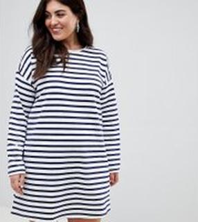ASOS DESIGN - Curve - Randig klänning i sweatshirt-tyg med lång ärm - Flerfärgad