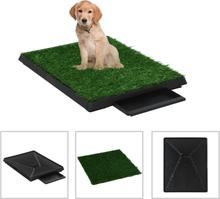 vidaXL Djurtoalett med tråg och konstgräs grön 63x50x7 cm WC