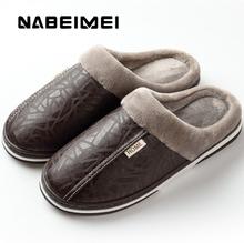 Men shoes 2020 Home Slippers men leather Memory Foam Indoor slippers for men Non-Slip Warm Winter House Adult slipper plush