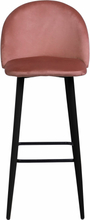 Alice sammet barstol i Rosa med svarta ben och sitshöjd 65 cm