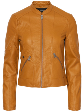 VERO MODA Short Faux Leather Jacket Women Orange