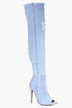 Zoe Distressed Peeptoe Thigh High Boot