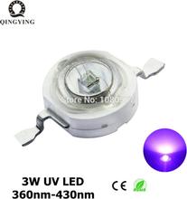 10pcs-100pcs 3W UV High Power LED Light Beads Ultra Violet Purple LED Chip 360nm 365nm 370nm 380nm 390nm 395nm 400nm 405nm 430nm